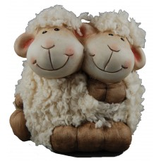 Ceramic Furry Twin Sheep