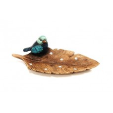 Blue Bird on Leaf Plate