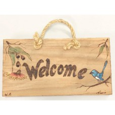 Blue Wren Wooden Plaque, Welcome