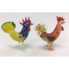 Colourful Glass Roosters, 2 Asstd.