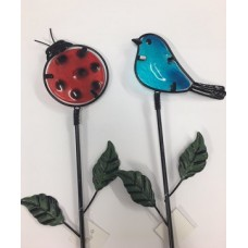 Glass Ladybug & Blue Wren Stake (6/Set)