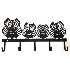 Owls Wall Rack with 5 Hooks