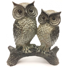 "9"" Two Owls on Wooden Log"