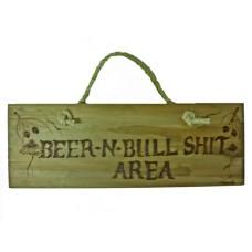 """Handcrafted Wooden Plaque """"Beer Area"""""""